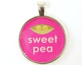Sweet Pea Pendant - Pink Green Silver Peas in Pod Round Resin Pendant