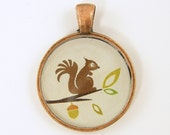 Squirrel Pendant - Whimsical Woodland Brown Green Tan Copper Resin Jewelry