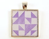 Quilt Block Jewelry - Quilters Gift Lavender Purple White Square Silver Resin Pendant