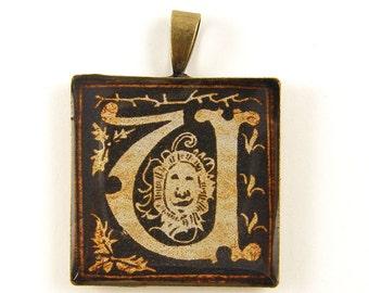 Initial U Pendant - Letter U Pendant - Personalized Medieval Resin Sepia Square Initial U Charm