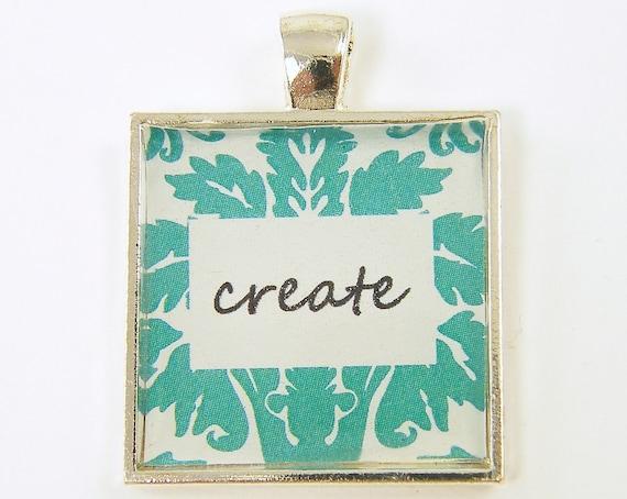 Creativity Pendant - Create Green Teal Black White Square Pendant