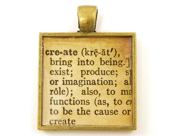 Inspirational Pendant - Create Word Dictionary Page Creativity Jewelry Charm