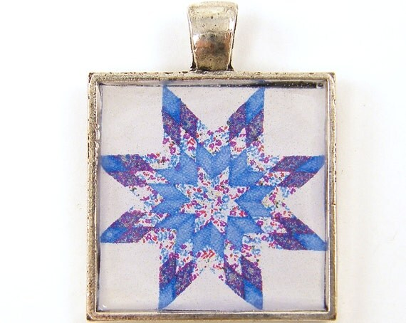 Quilt Pendant - Blue Pink White Diamond Star Quilt Block