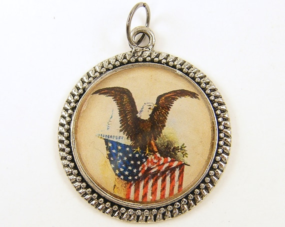 Eagle Pendant - American Flag Red White Blue Patriotic Jewelry Charm