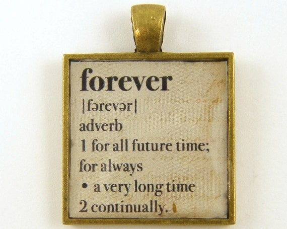 Forever Pendant, Word Charm, Dictionary Page Pendant, Inspirational Loving Promise Sepia Square Resin Jewelry