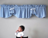 Country Style Blue Plaid Valance with White Ribbon Silk Bows