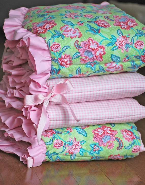 HALF PRICE. Baby Nursery Bedding - Unique floral and plaid baby crib bumper with pink ruffles and pink ribbon bows