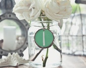 12 MINT GREEN Wood Round Chalkboard Slices for Table Numbers