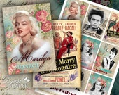 The Hollywood Stars - digital collage sheet - set of 8 - Printable Download