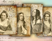 Mistero - digital collage sheet - set of 4 cards - Printable Download