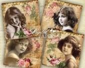 Retro squares - coaster - 4 x 4 inch - set of 4 cards - digital collage sheet