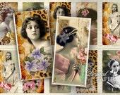 Retro Fashion - domino image - digital collage sheet - 1 x 2 inch - Printable Download