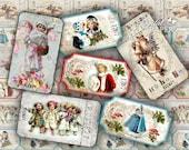 Christmas Ticket - digital collage sheet - set of 6 strips  - vintage image