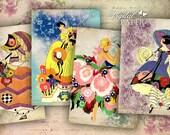 Retro Fashion - tags - digital collage sheet - set of 6 - Printable Download
