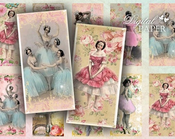 Ballerina - domino image - digital collage sheet - 1 x 2 inch - Printable Download