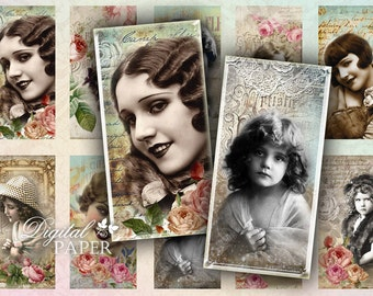 Vintage French Women - domino image - digital collage sheet - 1 x 2 inch - Printable Download