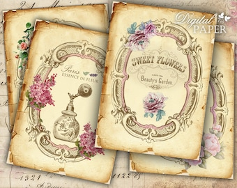 Beauty Garden - digital collage sheet - set of 4 cards - Printable Download