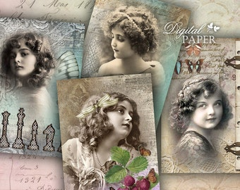 Golden Minuts - digital collage sheet - set of 4 cards - Printable Download