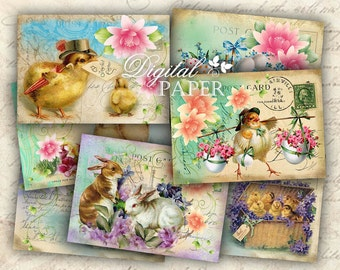 Joyful Easter - digital collage sheet - set of 6 - Printable Download