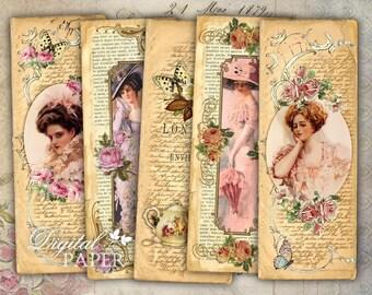 Flower Lady - Vintage Image - set of 6 bookmarks - digital collage - printable JPG file