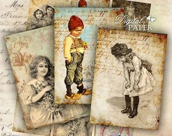 Art Ephemera - digital collage sheet - set of 6 - Printable Download
