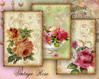 Vintage Rose - digital collage sheet - set of 8 - Printable Download