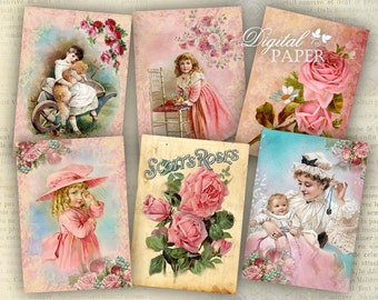 Pink Tags - digital collage sheet - set of 8 - Printable Download