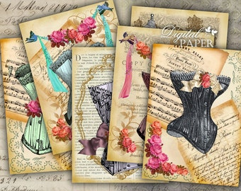 Old Time Fashion - digital collage sheet - set of 8 - Printable Download
