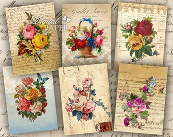 Vintage Flowers - digital collage sheet - set of 8 - Printable Download