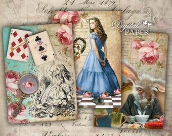 Alice in Wonderland - digital collage sheet - set of 6 - Printable Download