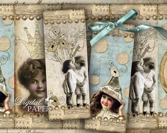 Baby Street - set of 6 bookmarks - digital collage - printable JPG file