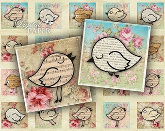 Paper Bird - squares image - digital collage sheet - 1 x 1 inch - Printable Download