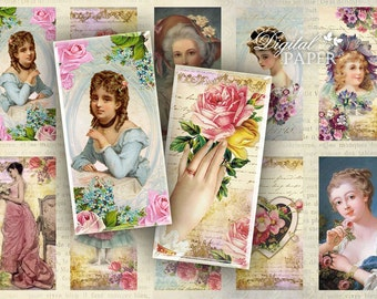 Bonjour Madame - domino image - digital collage sheet - 1 x 2 inch - Printable Download