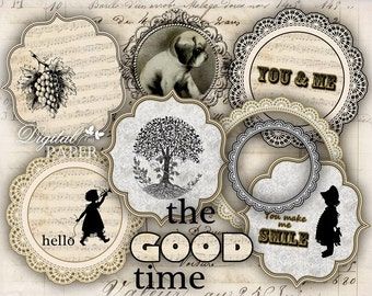 The Good Time - digital collage sheet - printable set of 8 embellished