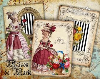 Maison de Marie - digital collage sheet - set of 8 - Printable Download