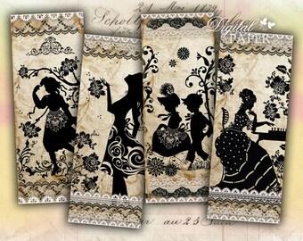 Antique Bookmarks - set of 6 bookmarks - digital collage - printable JPG file