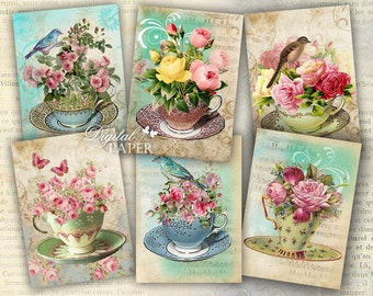 Tea Flower - tags - digital collage sheet - set of 6 - Printable Download