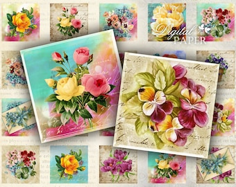 Spring - squares image - digital collage sheet - 1 x 1 inch - Printable Download
