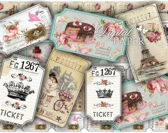 Ticket Vintage - digital collage sheet - set of 6 strips  - vintage image