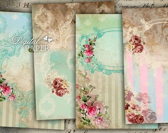 Big Victorian Paper - background - digital collage - set of 2 sheet - Printable Download