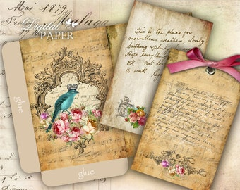 Antique Envelopes - digital collage sheet - set of 2 sheet - Printable Download