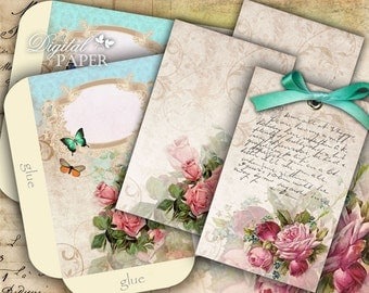 Flower  Envelopes - digital collage sheet - set of 2 sheet - Printable Download