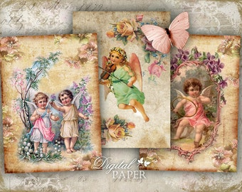 Heavenly Rose - digital collage sheet - set of 8 - Printable Download