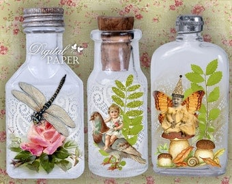 Vintage Bottle - digital collage sheet - set of 6 - Printable Download