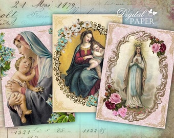 Madonna - digital collage sheet - set of 8 - Printable Download