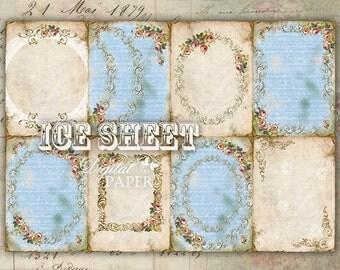 ICE sheet - background - digital collage sheet - set of 8 - Printable Download