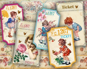 Ticket for my Garden - digital collage sheet - set of 5 strips  - vintage image