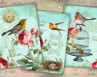 Love Paris - digital collage sheet - set of 4 cards - Printable Download