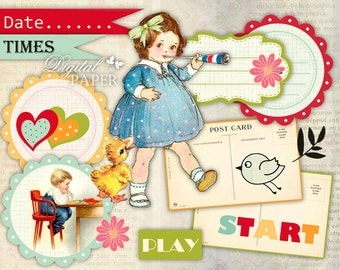 Play START - digital collage - set of 2 sheet - printable paper