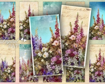 Spring Garden - domino image - digital collage sheet - 1 x 2 inch - Printable Download